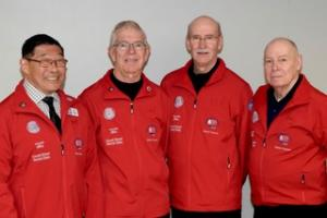 BC Interior Masters Curling Championship 2019 Over 70.  Terry O'Connor, Vern Ronmark, Richard Allan and Ron Toyota